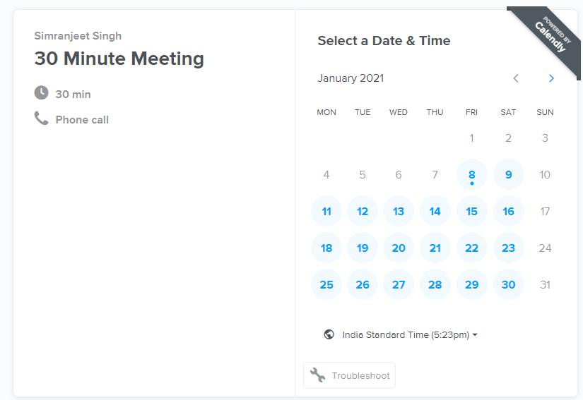 Calendly Calendar scheduling
