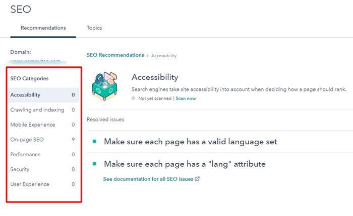 HubSpot SEO Accessibility Option