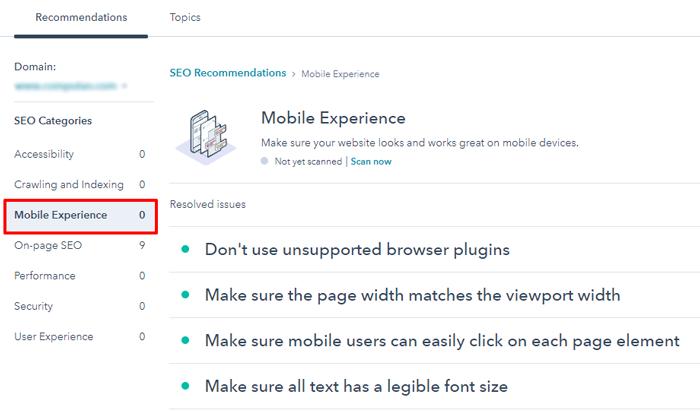 hubspot website mobile experience