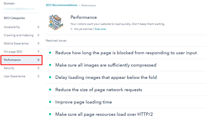 performance hubspot website