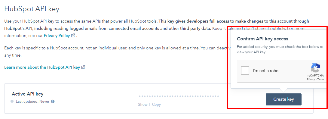 API Key HubSpot rotate