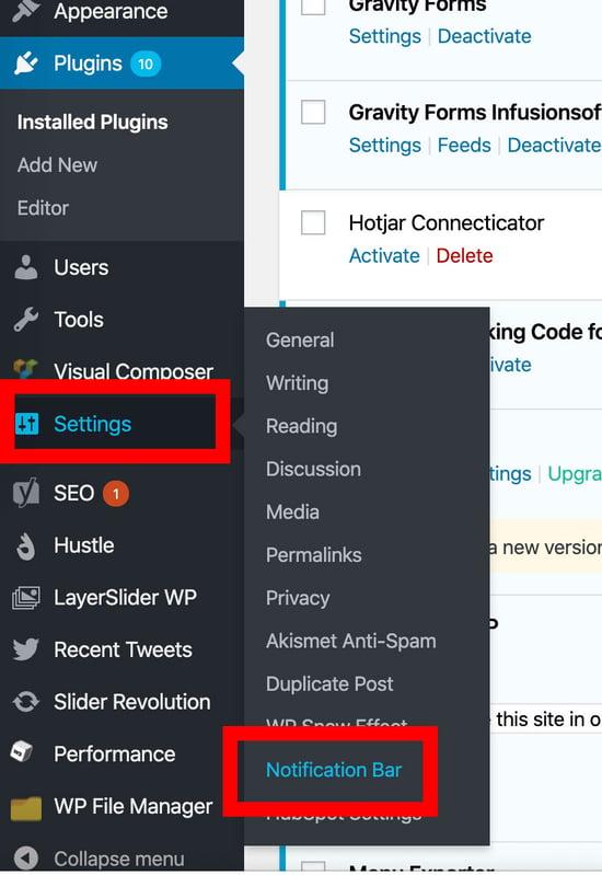 adding notification bar in wordpress