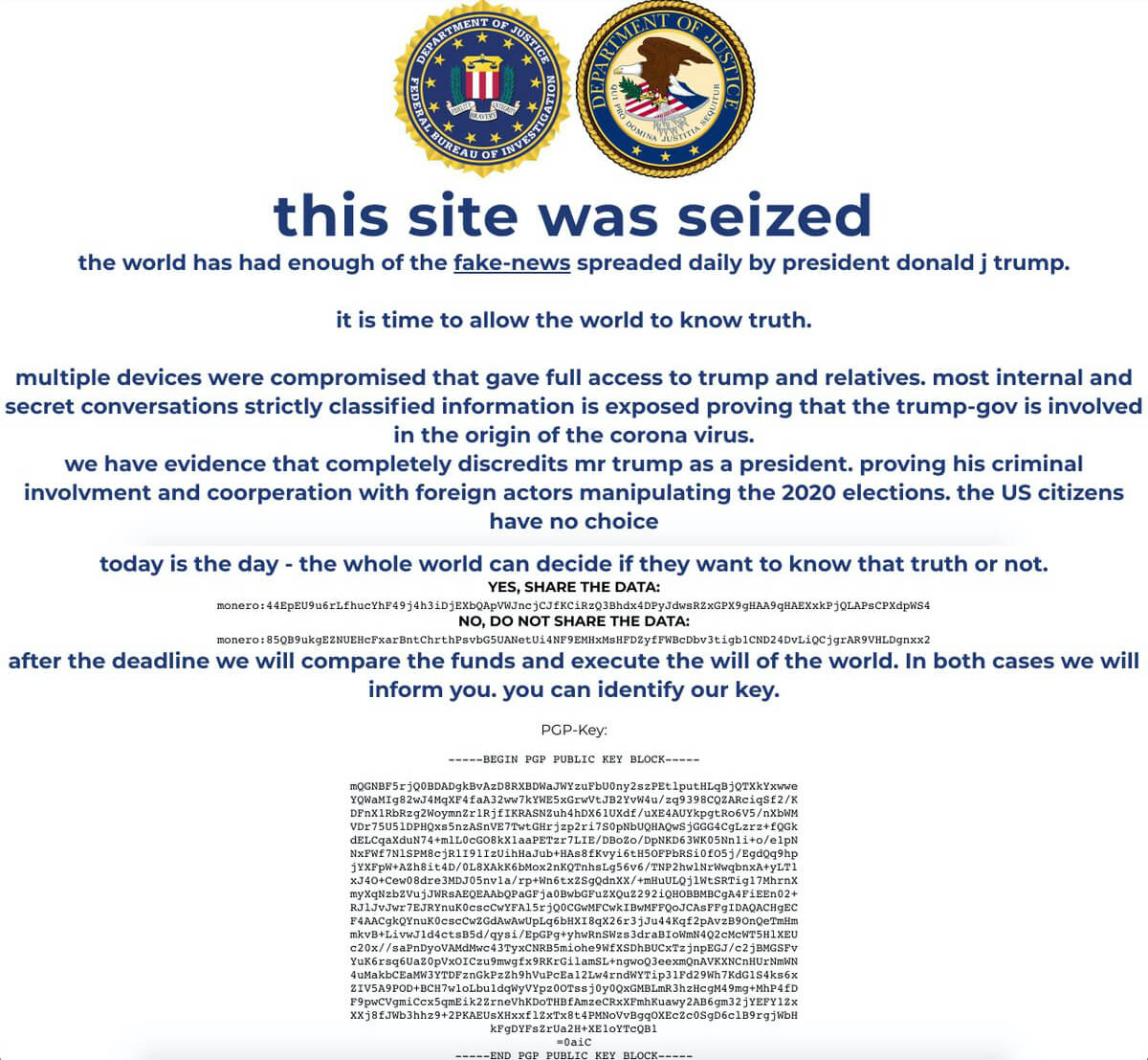 Trump's website got hacked